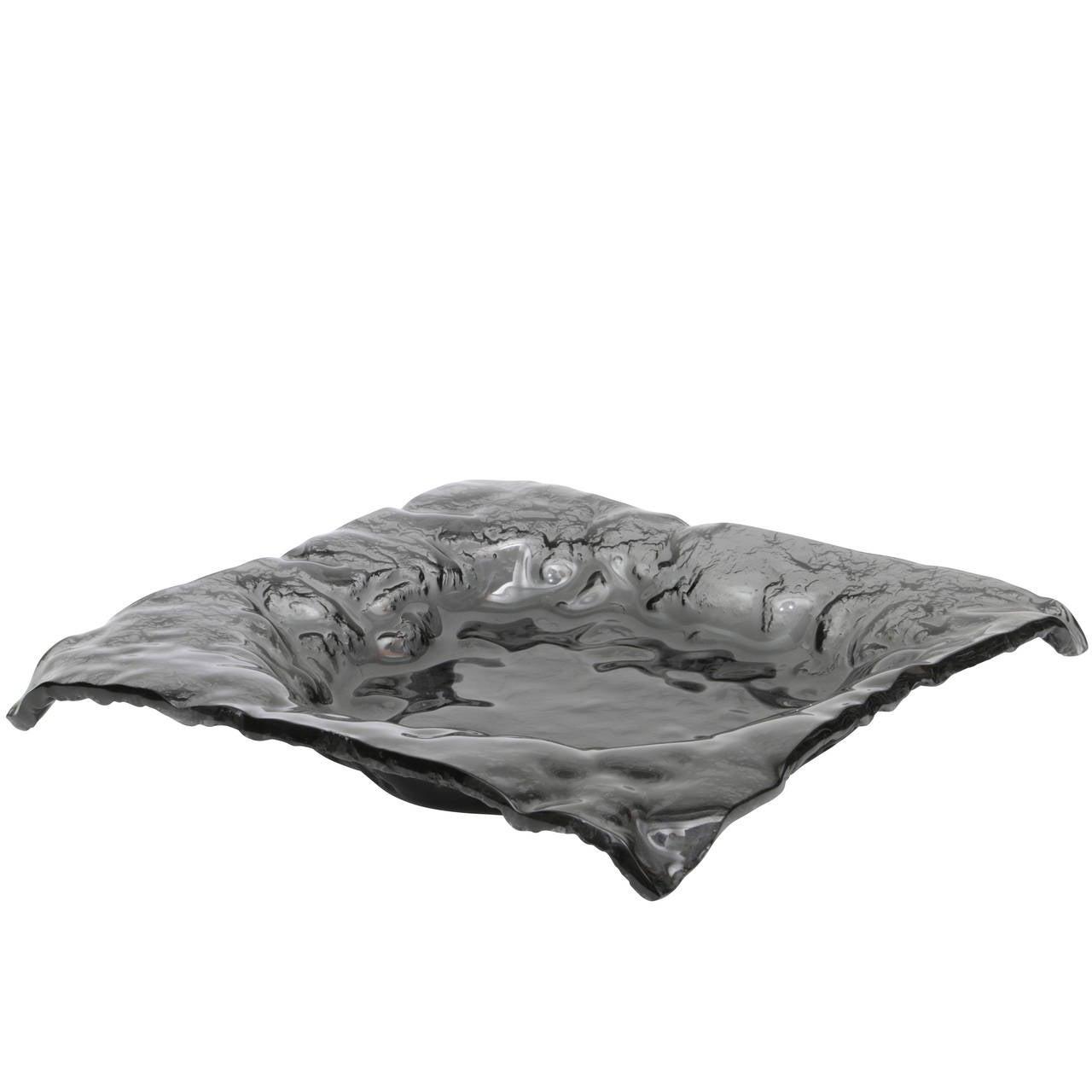 Black Molten Art Glass Large-Scale Bowl or Centerpiece