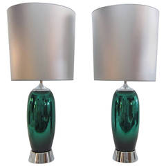 Spectacular Pair of Mercury Glass Lamps with Inverted Shades