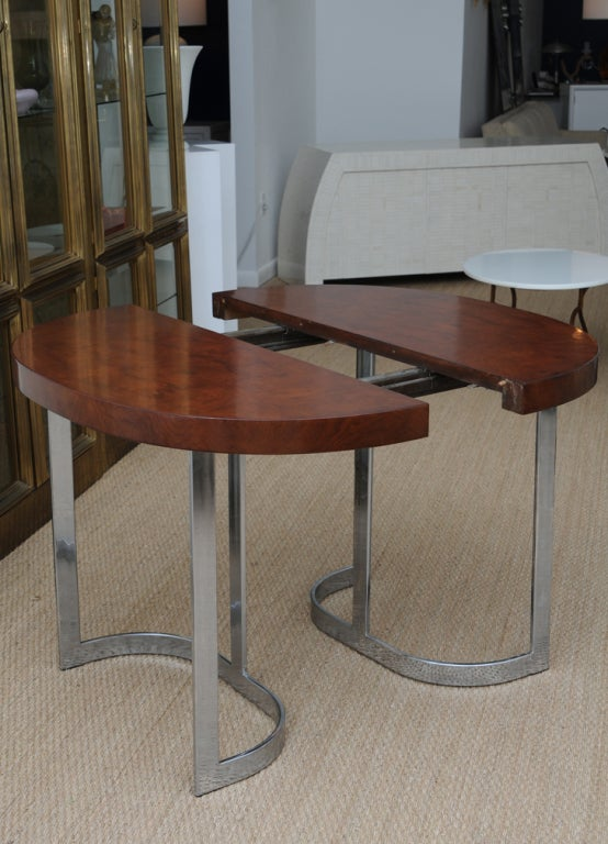 Satin Burl And Polished Chrome Dining Table Retractable At 1stdibs