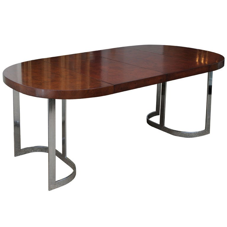 Satin burl and polished chrome dining table retractable for Table salon retractable