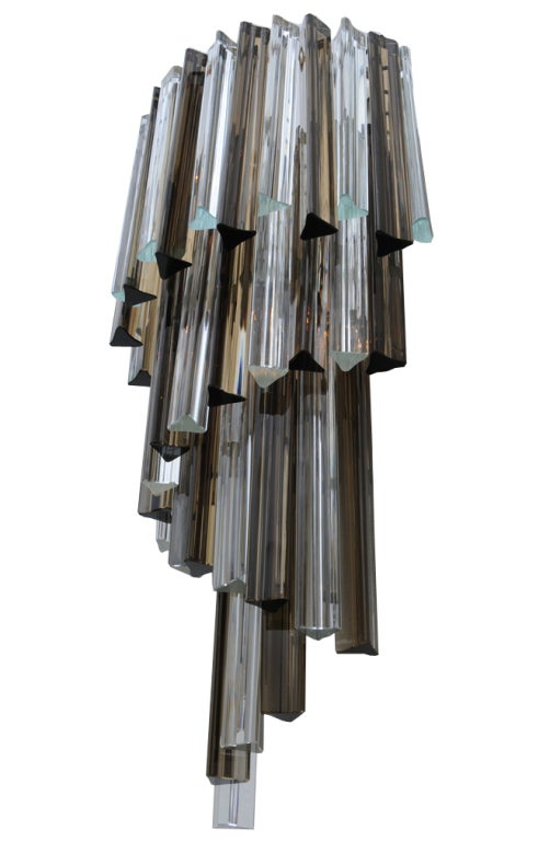Venini Smoked and Clear Glass Prism Cascading Wall Sconce For Sale at 1stdibs