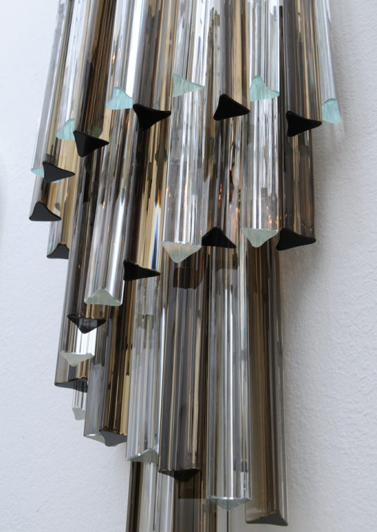 Wall Sconce With Prismatic Glass : Venini Smoked and Clear Glass Prism Cascading Wall Sconce For Sale at 1stdibs