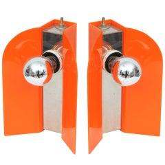 Pair of Italian Chrome and Acrylic Lamps