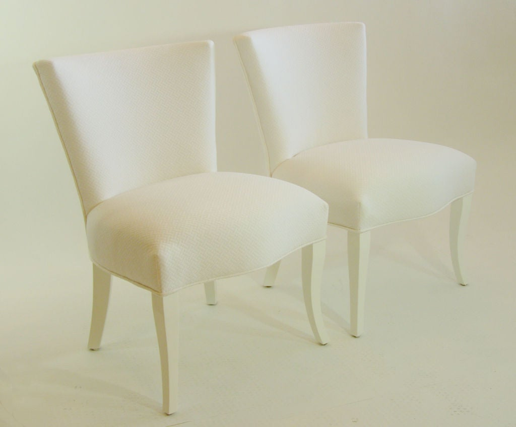 Pair white on white salon chairs for sale at 1stdibs for White salon furniture