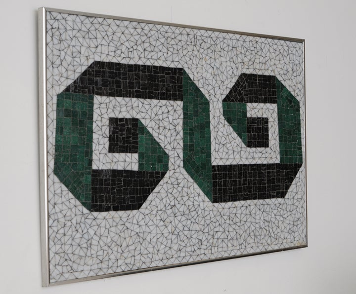 Glass Mosaic Tile Wall Plaque or Table Top by Charles Berg 3