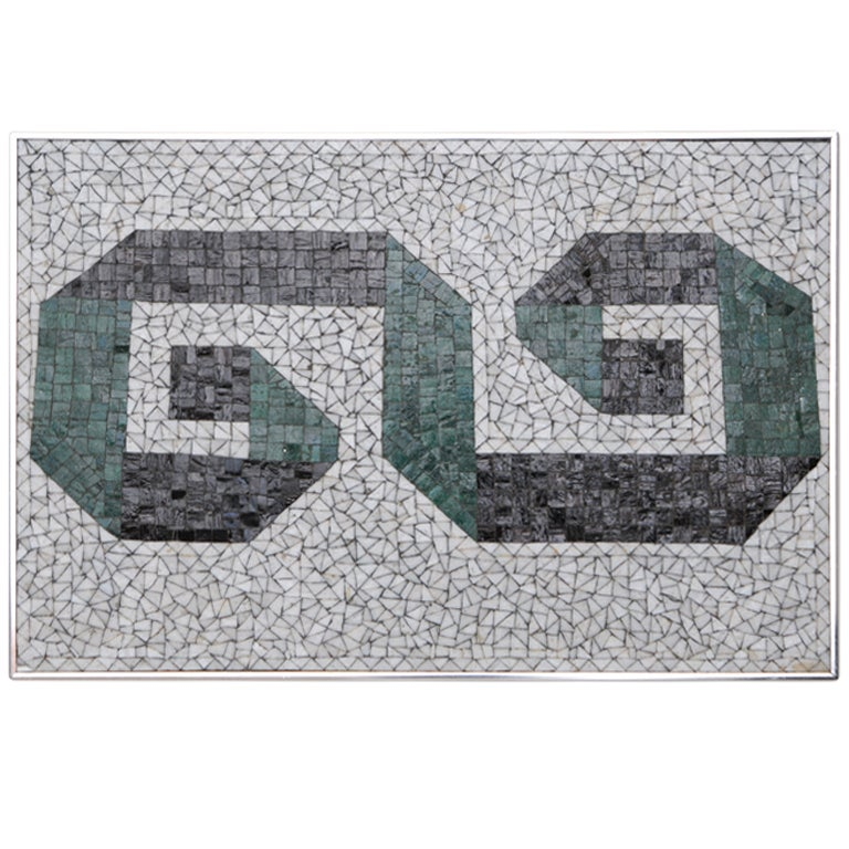Glass Mosaic Tile Wall Plaque or Table Top by Charles Berg 1
