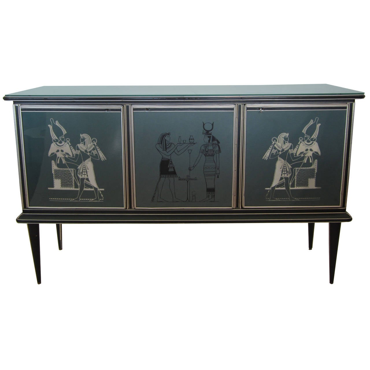 Italian Glass Front Credenza By Umberto Mascagni At 1stdibs