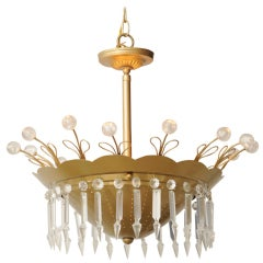 Brass and Lucite Whimsical Chandelier