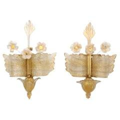 Early Barvoier et Toso Murano Rugiada Glass Wall Sconces
