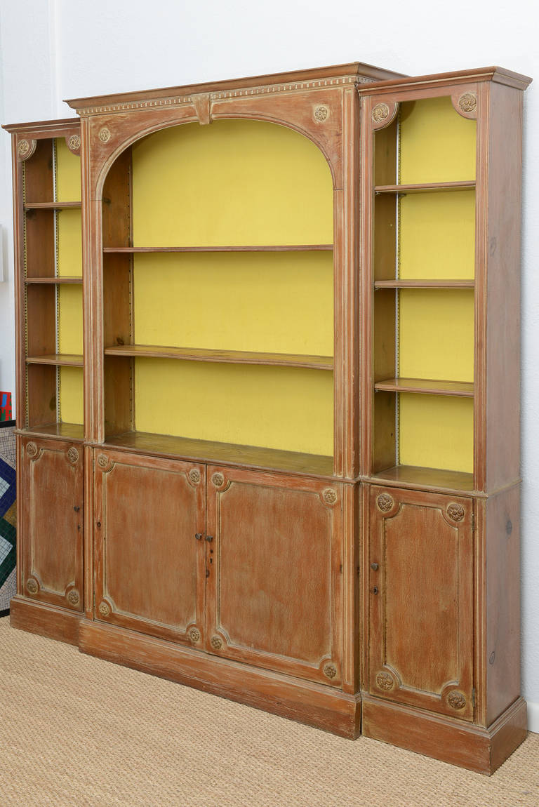 pine display cabinet wall unit shallow to the wall at 1stdibs. Black Bedroom Furniture Sets. Home Design Ideas