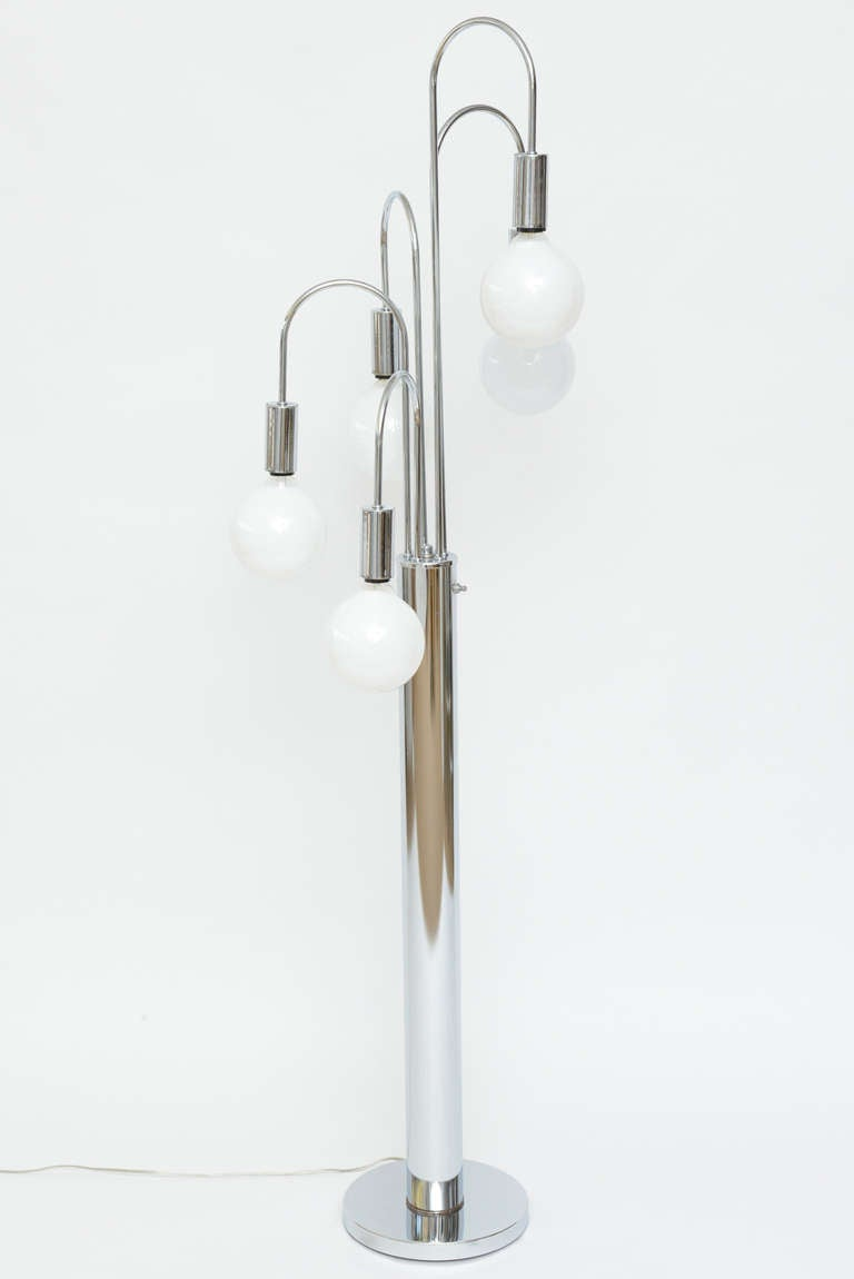 Chrome multi arm floor lamp at 1stdibs for Multi led floor lamp