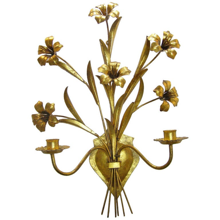 Wall Sconces Italian : Italian Gilded Metal Wall Sconce at 1stdibs