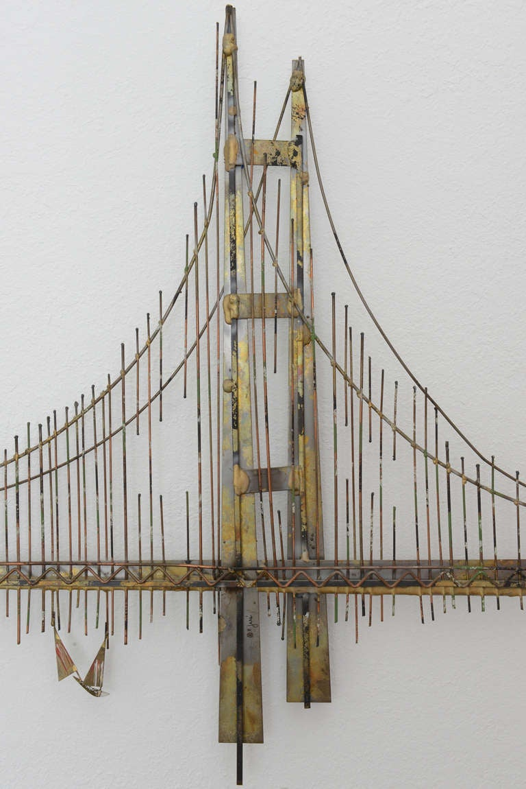 Mixed Metal Wall Mount Golden Gate Bridge Sculpture By C Jere Signed