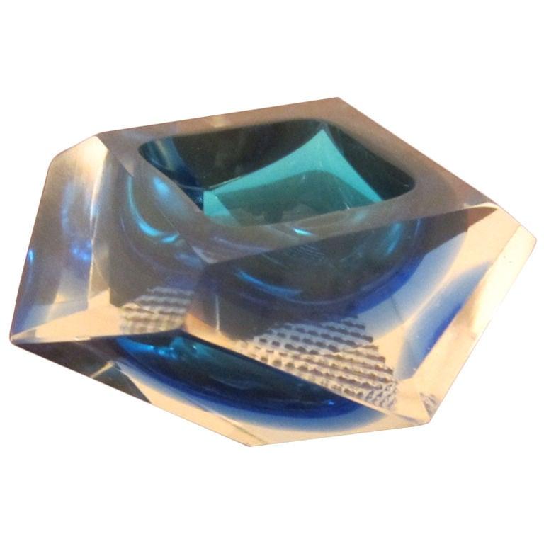 Mandruzzato Diamond Cut Cobalt Dish Saturday Sale At 1stdibs
