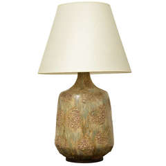 Large Mid-Century Ceramic Lamp with Textured Brown + Green Glaze
