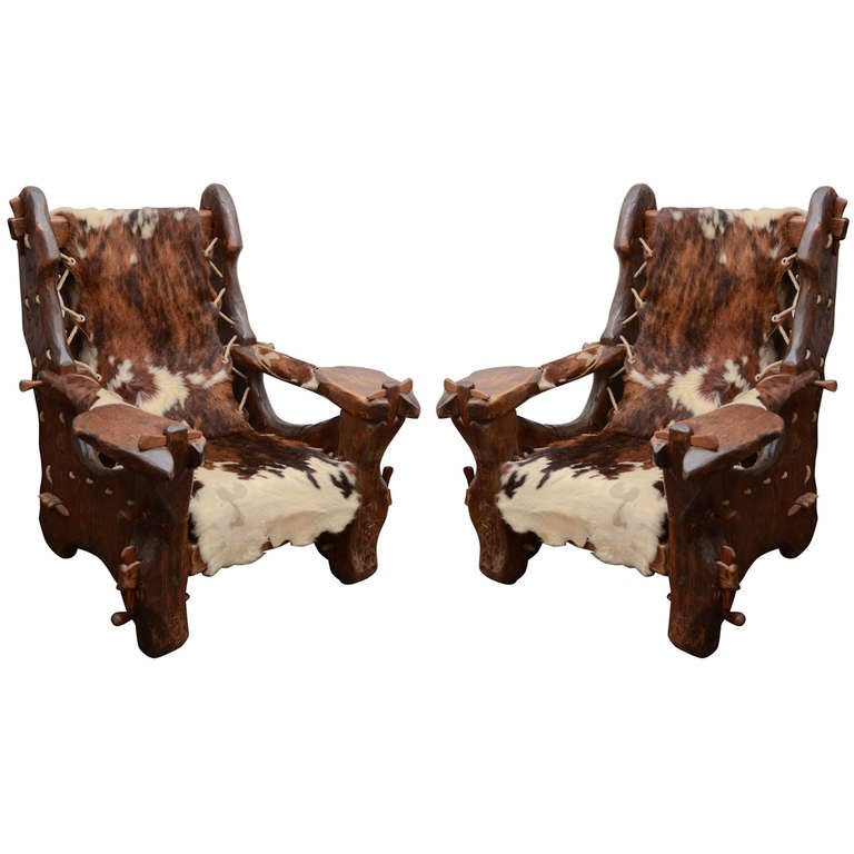 Pair of Pinewood and Cowhide Armchairs by Georges Charpentier 1