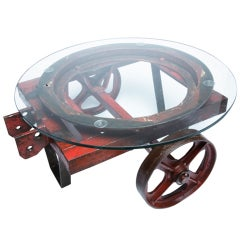 Industrial Iron Cart With Wheels.