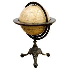 8 Inches American Papier Mache Celestial Globe , Cast Iron Base