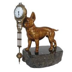 A Rare Pendulum Clock Depicting A French Bulldog