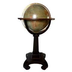 An Important English Library Terrestrial Globe , Wooden Plint Ov