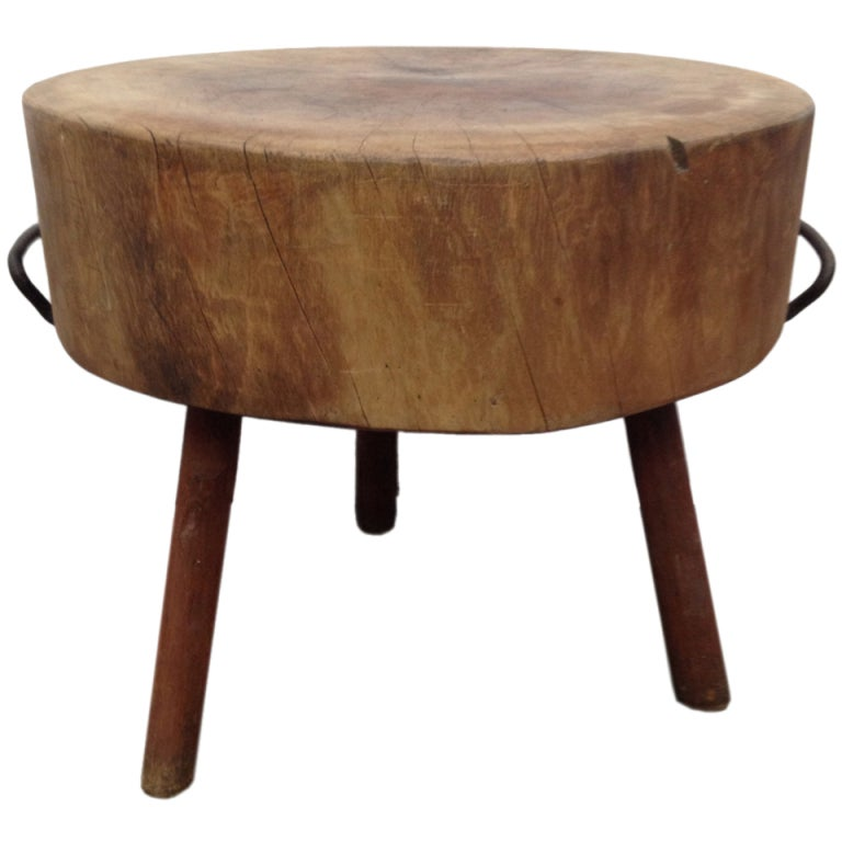 Rare And Unusual Wooden Butcher Round Block Table At 1stdibs