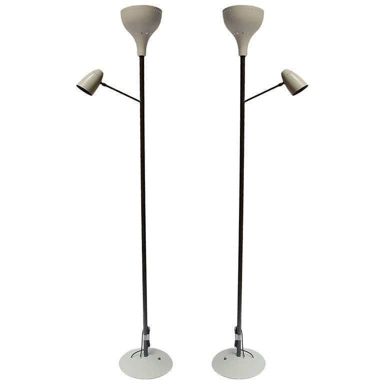 Pair of Italian Enameled Aluminum and Gilded Brass Floor Lamps - Italy, 1950