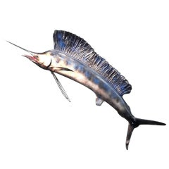 Big Painted Papier Mache Hanging Sign For Restaurant Depicting a Marlin