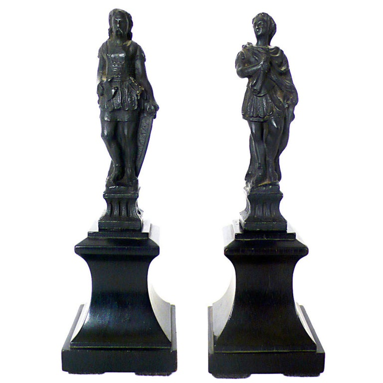 Rare Italian Grand Tour Object Depicting a Pair of Little Metal Sculptures