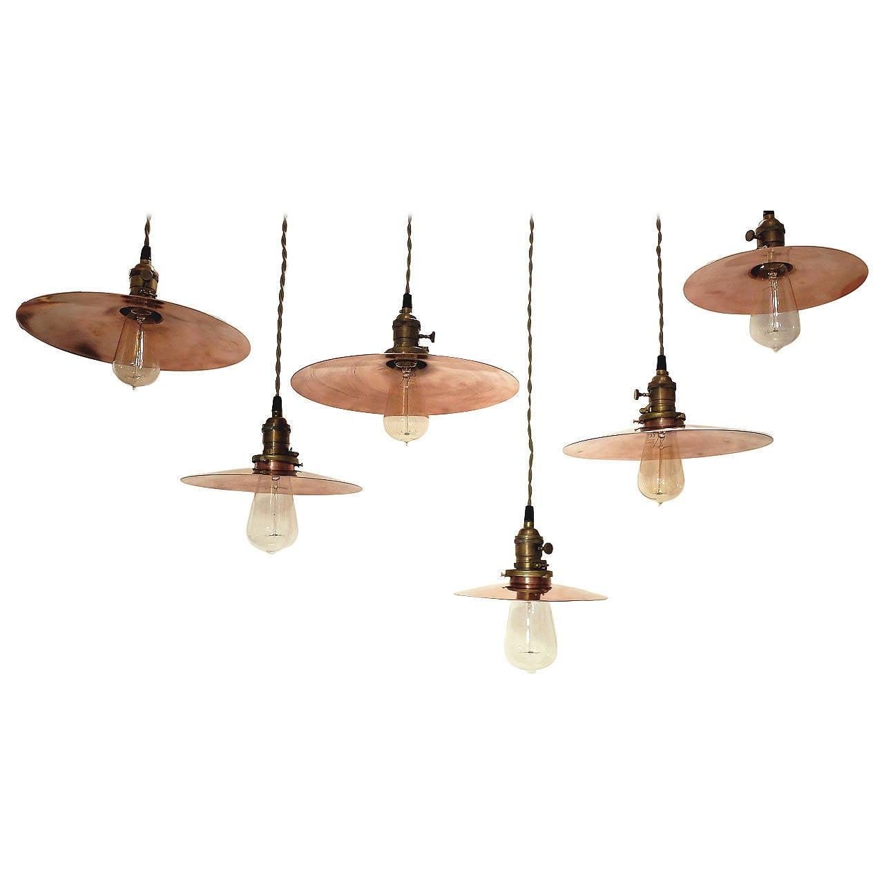 Set of copper swinging lamps, 1920s