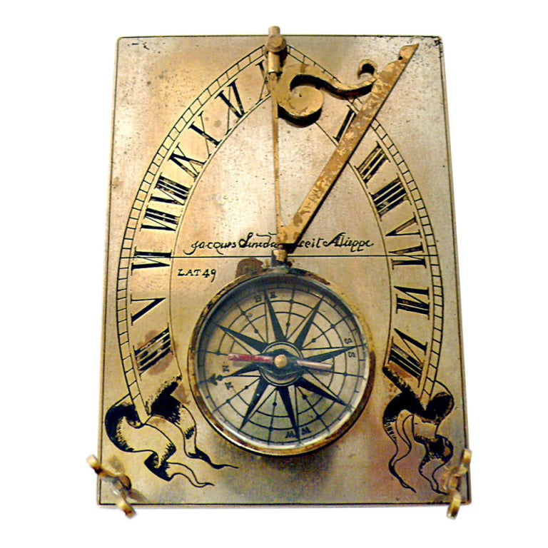 A 19th Century Silvered And Gilt Brass Horizontal Compass Sundial.