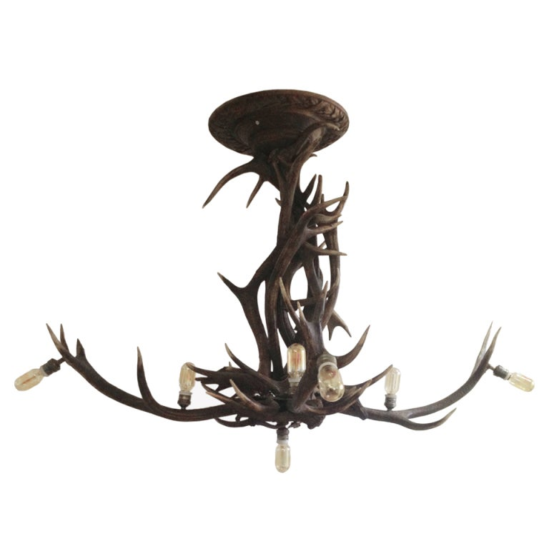 An Unusual Chalet Chandelier Made Out Of Stag Horns At 1stdibs