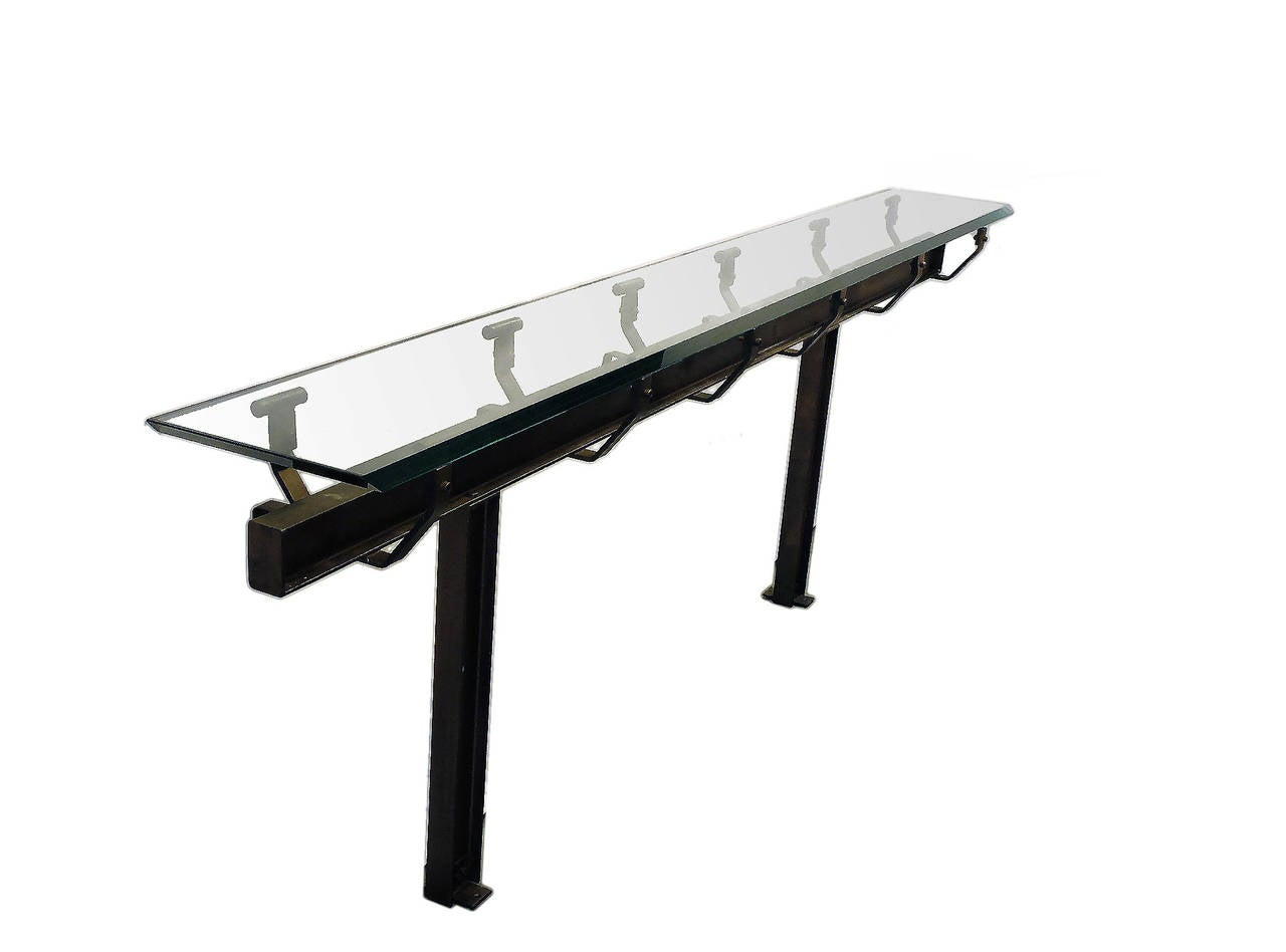 Antique cast iron and and glass italian console table for for Cast iron table with glass top