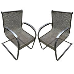 Rare and Unusual Pair of Outdoor Metal Armchairs