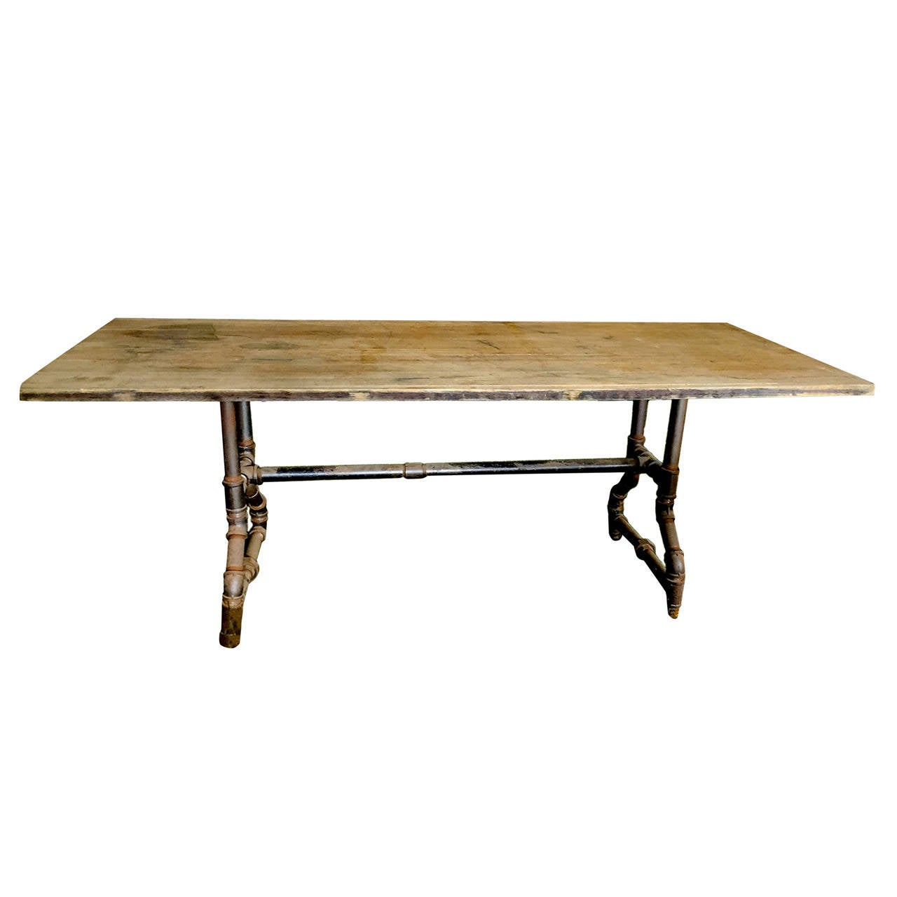 unusual rectangular industrial dining table for sale at