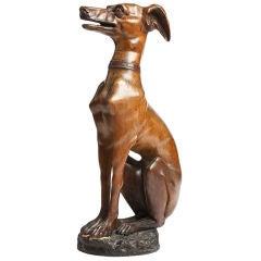 A beautiful sculture of a 'Piccolo Levriero' wippet dog.
