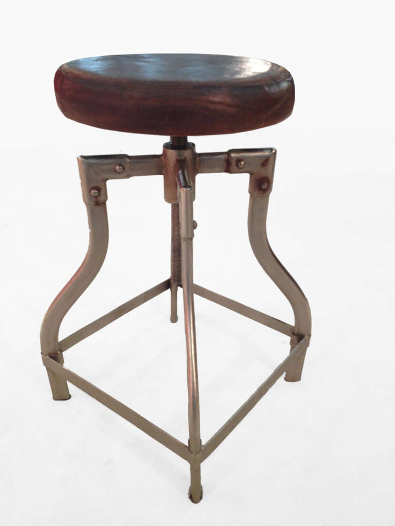 Adjustable Chromed Metal Stools With Padded Leather Top. 3 & Adjustable Chromed Metal Stools With Padded Leather Top. at 1stdibs islam-shia.org