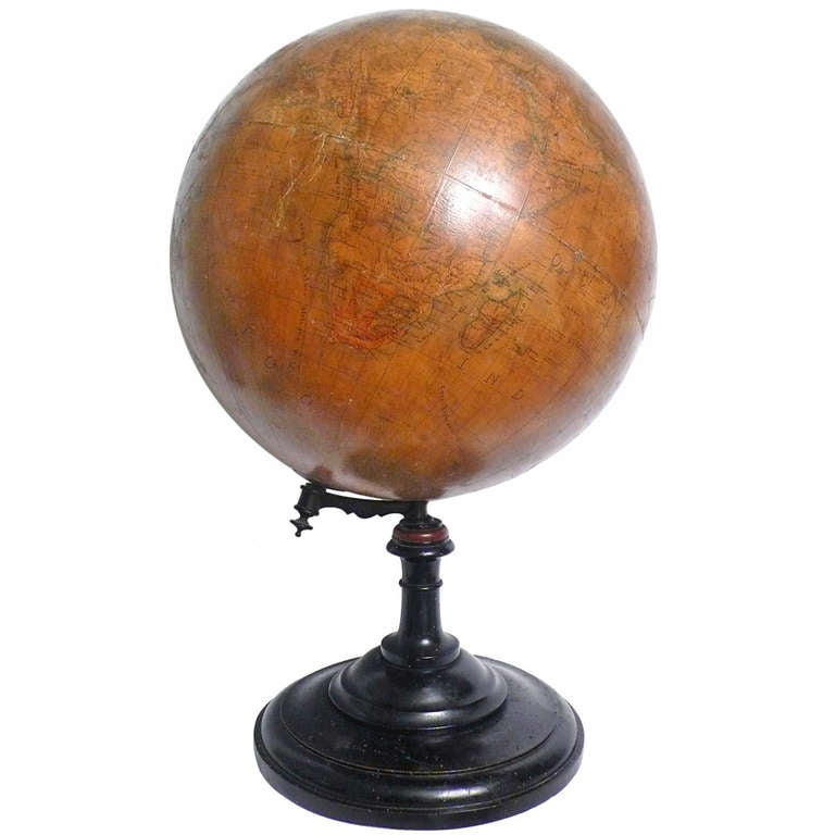 18 Inches Italian papier machè terrestrial globe with wooden base. For Sale