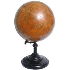 18 Inches Italian papier machè terrestrial globe with wooden base.