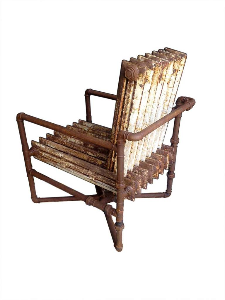 Unusual Armchair Made out of Two Old Heaters For Sale at ...