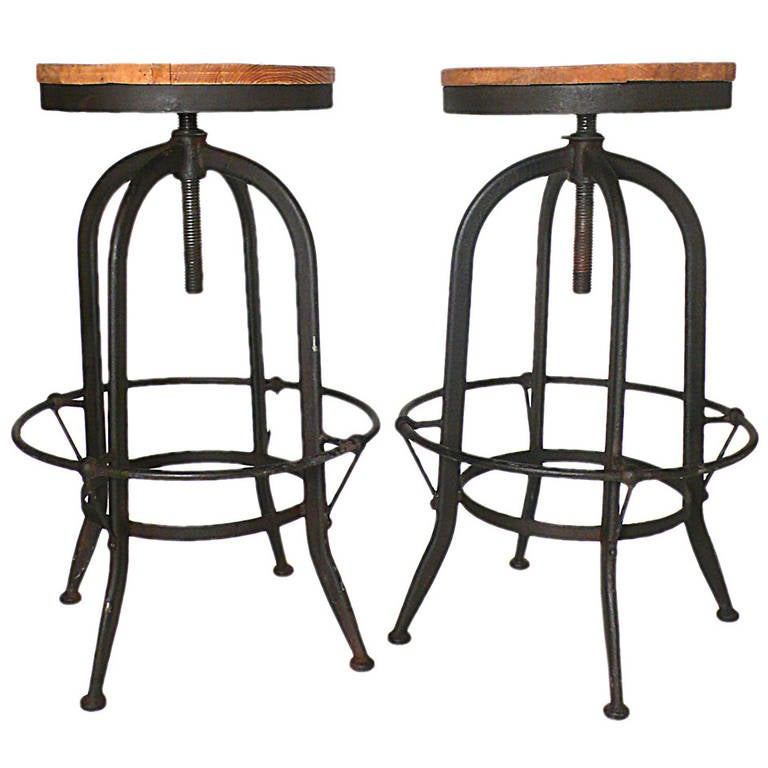 Pair of Industrial Stools with Tubular Iron Legs and Wooden Seats
