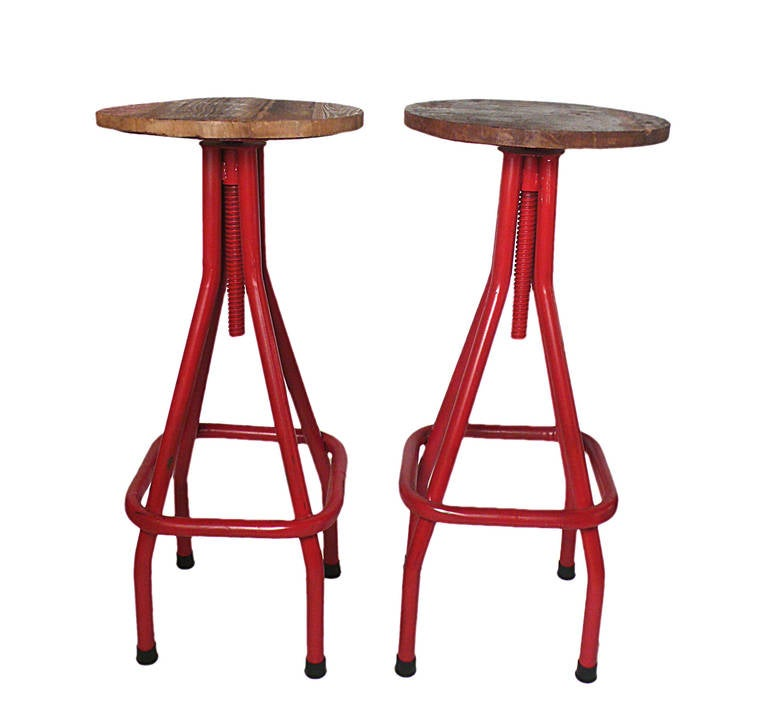 Six Industrial Stools with Red Painted Tubular Iron Legs and Wooden Seats 2  sc 1 st  1stDibs & Six Industrial Stools with Red Painted Tubular Iron Legs and ... islam-shia.org