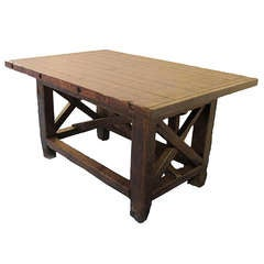 A carpenter's wooden workbench.