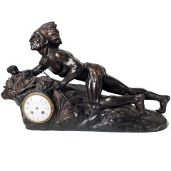 A Rare French Clock Depicting an Indian