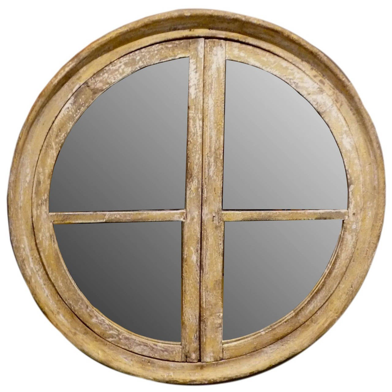 Round wooden frame mirror for sale at 1stdibs Round framed mirror