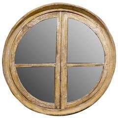 Round Wooden Frame Mirror