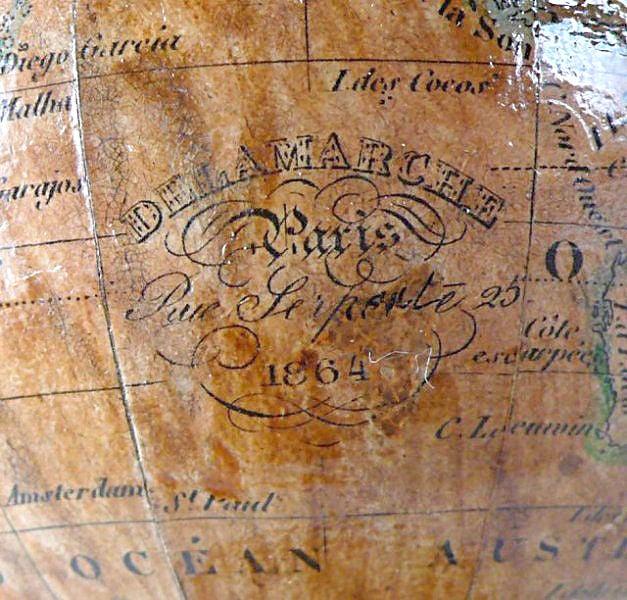 19th Century Rare Miniature Delamarche Terrestrial Globe For Sale