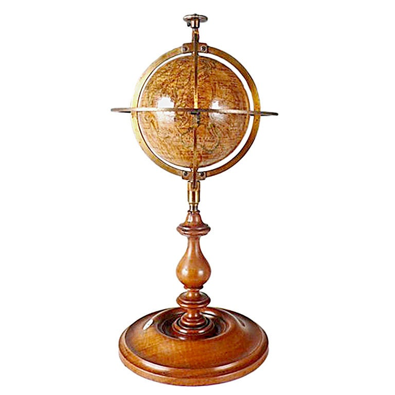 Rare Miniature Delamarche Terrestrial Globe For Sale