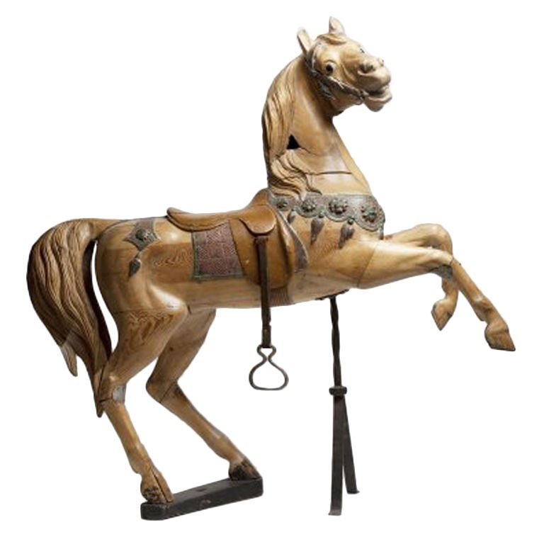 Important Rampant French Carousel Horse