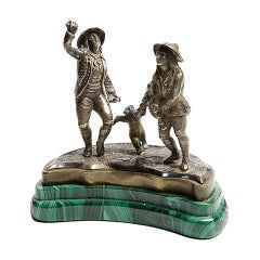 A rare Silver and malachite Russian sculpture, the dancing bear.