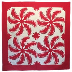 Red and White Applique Quilt